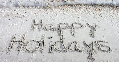 Happy Holidays in sand